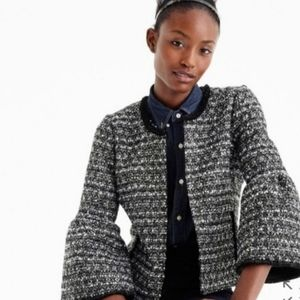 J Crew Lady Day Sequin Tweed Bell Sleeve Jacket
